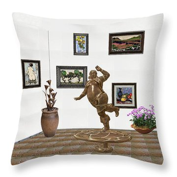 digital exhibition  Statue 24 of posing lady  Throw Pillow