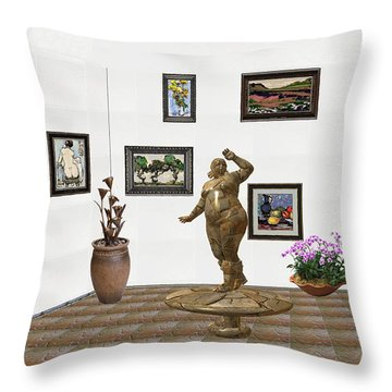 Throw Pillow featuring the mixed media digital exhibition  Statue 25 of posing lady  by Pemaro