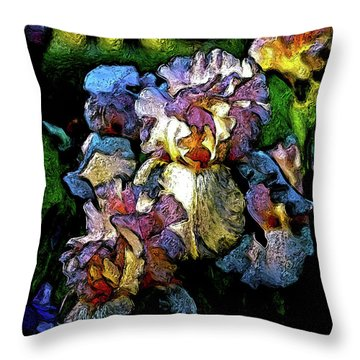 Digital Expressionist Painting Pale Pink Irises 6702 W_4 Throw Pillow