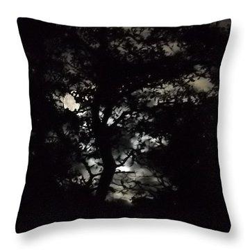 Digital Fine Art Work Full Moon Trees Gulf Coast Florida Throw Pillow