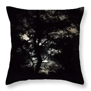 Digital Fine Art Work Full Moon Trees Gulf Coast Florida Throw Pillow