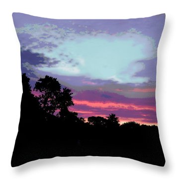 Digital Fine Art Work Sunrise In Violet Gulf Coast Florida Throw Pillow