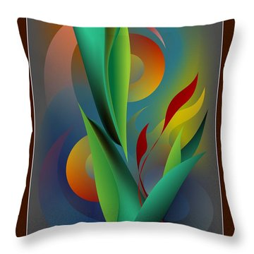 Digital Garden Dreaming Throw Pillow by Leo Symon