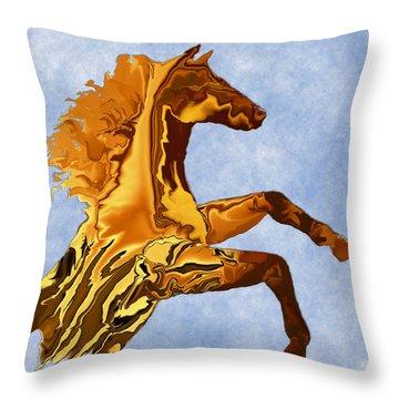 Digital Horse 2 Square Throw Pillow by Kae Cheatham