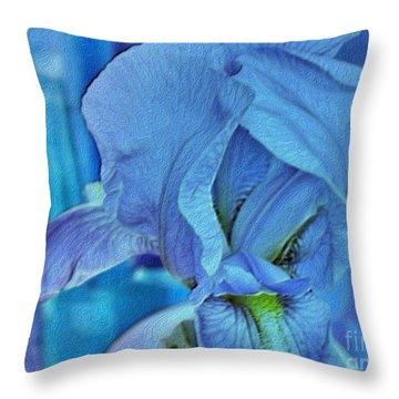 Throw Pillow featuring the mixed media Digital Iris by Marsha Heiken