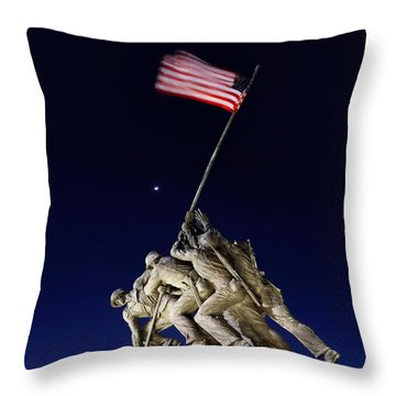 Digital Liquid - Iwo Jima Memorial At Dusk Throw Pillow