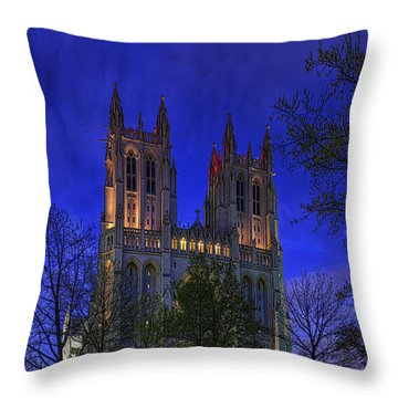 Digital Liquid - Washington National Cathedral After Sunset Throw Pillow