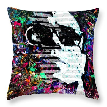 digital Lou Reed Throw Pillow