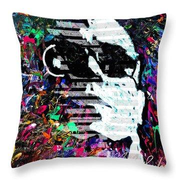 digital Lou Reed Throw Pillow