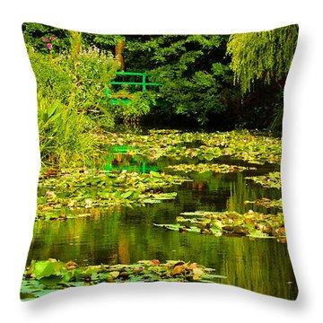Digital Paining Of Monet's Water Garden  Throw Pillow