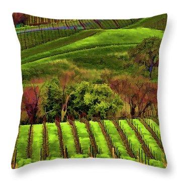 Enhanced Stunning Napa Valley Vineyards Vibrant  Throw Pillow