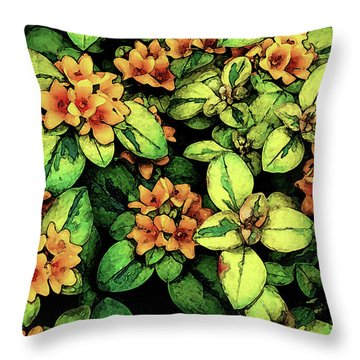 Digital Painting Quilted Garden Flowers 2563 Dp_2 Throw Pillow