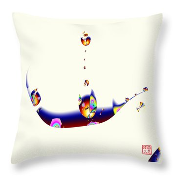 Digital Picasso - Cat In A Boat Throw Pillow
