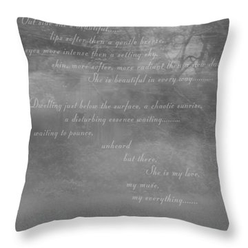 Digital Poem Throw Pillow