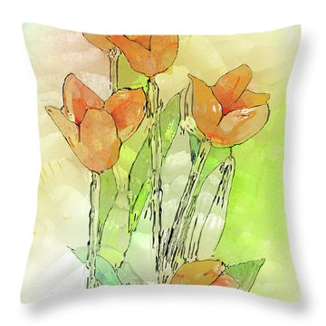 Digital Tulips Throw Pillow by Arline Wagner
