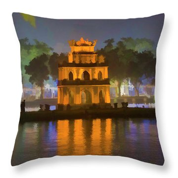 Digital Turtle Tower Paint  Throw Pillow