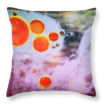 Throw Pillow featuring the photograph Digital Virus Orange One Bubbles by John Williams