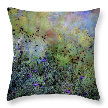 Digital Watercolor Field Of Wildflowers 4064 W_2 Throw Pillow