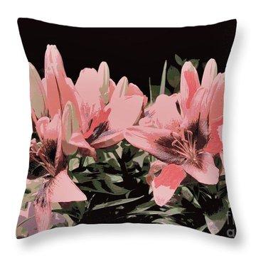 Digitalized Lilies Throw Pillow