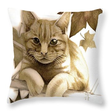 Digitally Enhanced Cat Image Throw Pillow