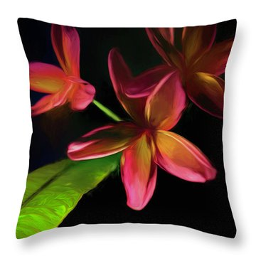 Digitized Sunset Plumerias #2 Throw Pillow