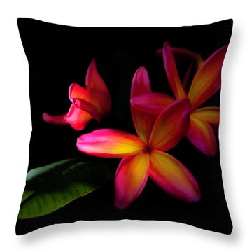 Digitized Sunset Plumerias  Throw Pillow