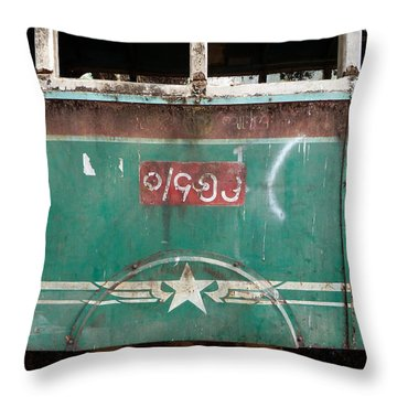 Throw Pillow featuring the photograph Dilapidated Vintage Green Bus In Burma - Side View With Tire by Jason Rosette