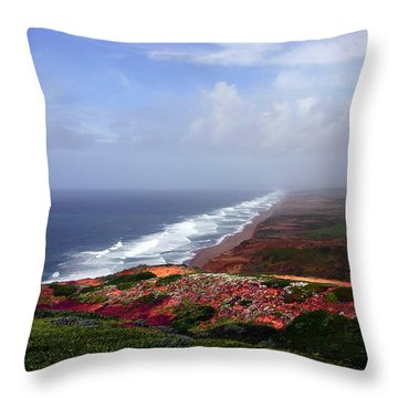Flowering Beach Point Reyes Lighthouse Bodega Bay Throw Pillow