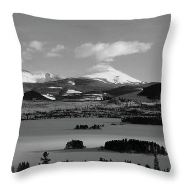 Throw Pillow featuring the photograph Dillon In Winter Bw by Marie Leslie