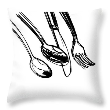 Diner Drawing Spoons, Knife, And Fork Throw Pillow by Chad Glass