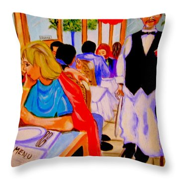 Diners At La Lutetia Throw Pillow