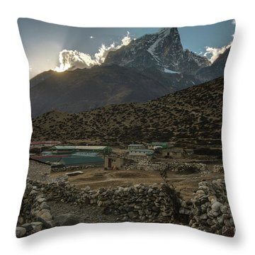 Throw Pillow featuring the photograph Dingboche Evening Sunrays by Mike Reid