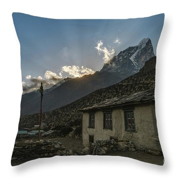 Throw Pillow featuring the photograph Dingboche Nepal Sunrays by Mike Reid