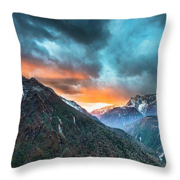Throw Pillow featuring the photograph Dingboche Sunrise by Dan McGeorge