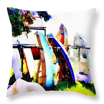 Dinghies At Devonport Throw Pillow