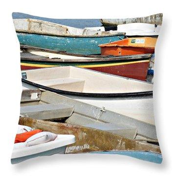 Dinghys At Bearskin Neck Throw Pillow by Joe Faherty