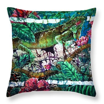 Dining At The Hibiscus Cafe - Iguana Throw Pillow by Sue Duda