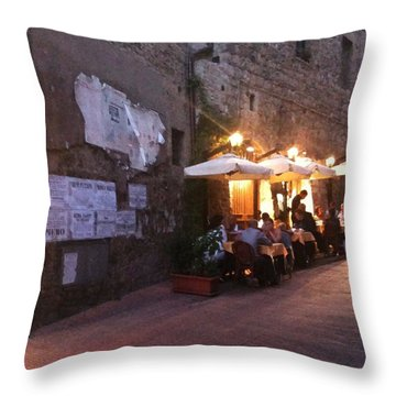 Dining In Tuscany Throw Pillow by Carol Sweetwood
