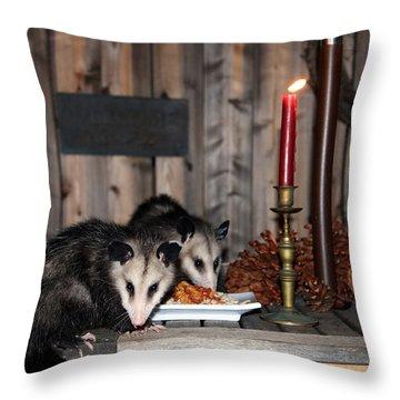 Dining Possums I Throw Pillow