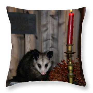 Dining Possums II Throw Pillow