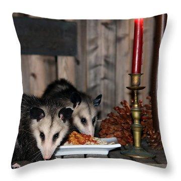 Dining Possums IIi Throw Pillow