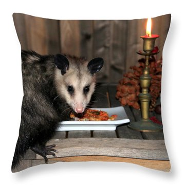 Dining Possums Iv Throw Pillow