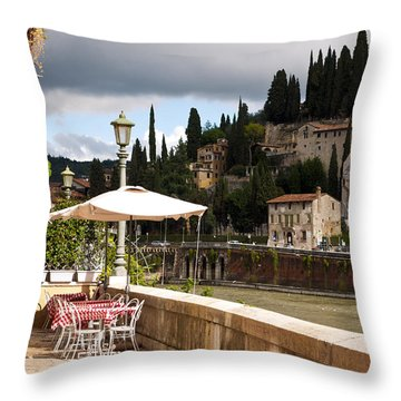 Dining With A View Throw Pillow by Rae Tucker