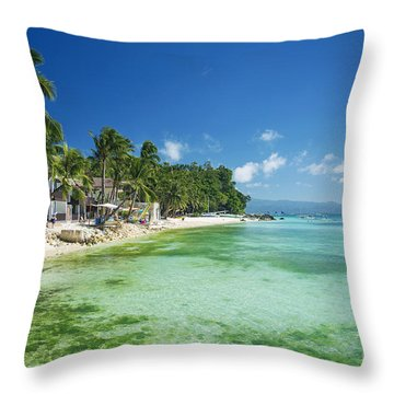 Diniwid Tropical Beach In Boracay Island Philippines Throw Pillow