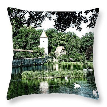 Dinkelsbuhl And Rothenburg Pond Throw Pillow