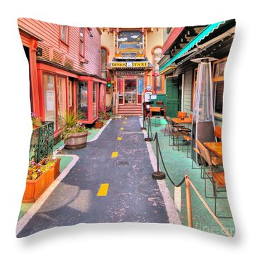 Throw Pillow featuring the photograph Dink's Taxi Bar Harbor by Debbie Stahre