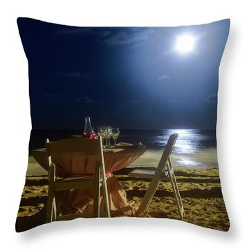 Dinner For Two In The Moonlight Throw Pillow