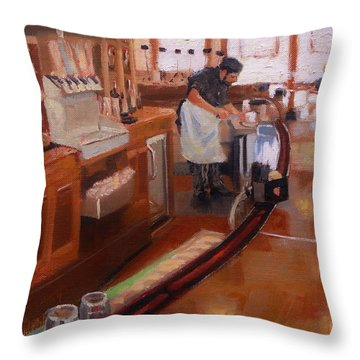 Dinner On The Cape Throw Pillow by Laura Lee Zanghetti
