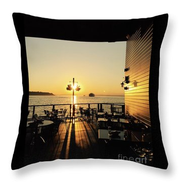 Dinner On The Water Throw Pillow