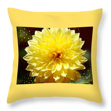 Dinner Plate Dahlia In Starry Sky Throw Pillow